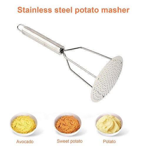 Potato Masher Ricer Puree Pressed Fruit Juice Maker Stainless Steel Potato Pusher Smooth Mashed Potatoes Crusher Fruit Tools