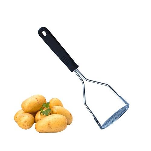 Stainless Steel Potato Masher Fruit Masher with Black Handle Kitchenware Tools