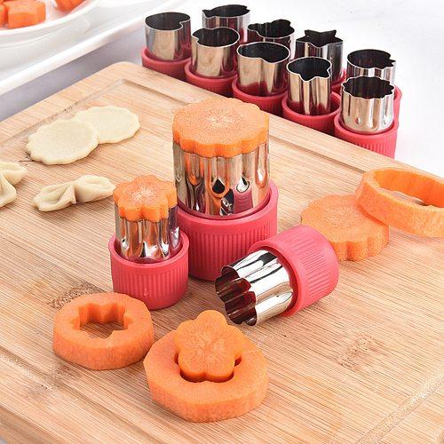 12Pcs Vegetable cut Fruit Star Shape Fondant flower mould Cake Cookie Plunger Mould Mold Cutter Tools molde silicona pasteler