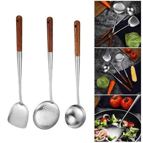 3Pcs Wok Spatula Spoon Skimmer Ladle Set Durable Stainless Steel Cooking Utensil 37MF