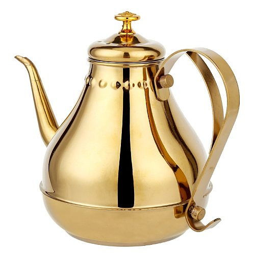 1.8L/1.2L Stainless Steel Teapot Golden Silver Pot With Filter Palace Tea Kettle Long Mouth Water Kettle