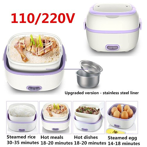 Portable Rice Cooker Thermal Heating Electric Lunch Box 2 Layers Food Steamer Cooking Container Meal Lunchbox Warmer 110V/220V