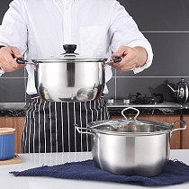 24cm Stainless Steel Double Handle Soup Pot with Lid Thickened Noodles Pot Multi-purpose Cookware Non-stick Pan General Use