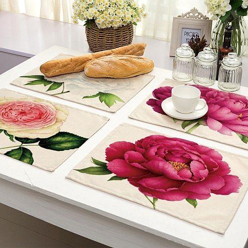 1Pcs Flower Pattern Placemat Dining Table Mat Drink Coaster Cotton Linen Pads Bowl Cup Mats 42*32cm Kitchen Accessories MP0023
