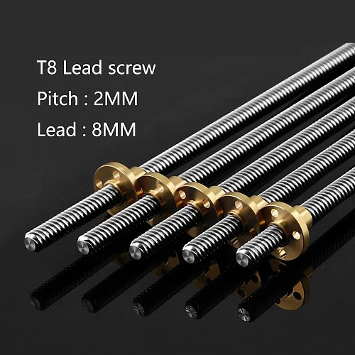 2pcs/lot T8 Lead Screw OD 8mm Pitch 2mm Lead 8mm  250mm 300mm 330mm 350mm 400mm 500mm With Brass Nut For Reprap 3D Printer