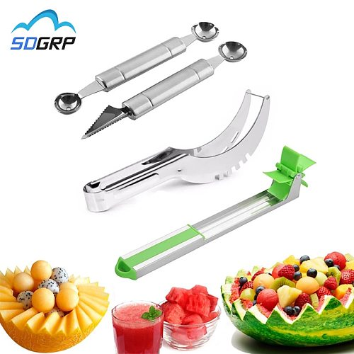 Stainless Steel Watermelon Slicer Fruit Knife Windmill Cutter Ice Cream Dig Ball Melon Baller Scoop Assorted Cold Kitchen Tools