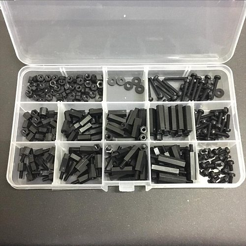 260Pcs/Set M3 Nylon Hex Spacers Screw Nut Stand-off Plastic Parts Plastic Standoff Set for Arduino Raspberry Pi 3 Model B+ Plus