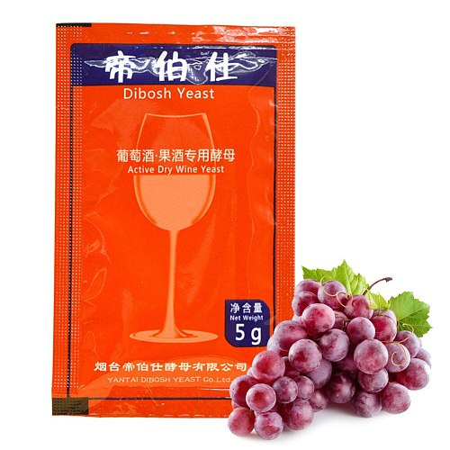Wine Yeast Home Brewing Saccharomyces Cerevisiae Wine Yeast 5g For 25 KG Grape Alcohol Active Dry Yeast For Wine Liquor Maker