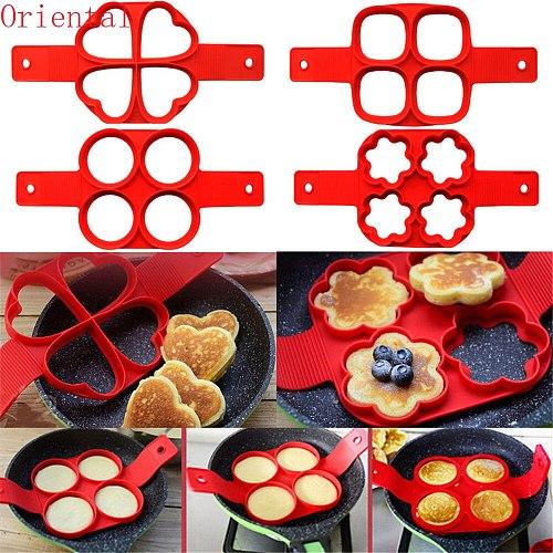 Silicone Non Stick Fantastic Egg Pancake Maker Ring Kitchen Baking Omelet Moulds Flip Cooker Mold