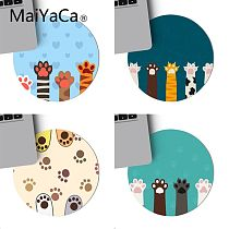 MaiYaCa Funny Cute Cats paw Keyboard Gaming MousePads Game Mouse Pad round mouse Mat Anti Slip gaming Mousepad 22x22cm