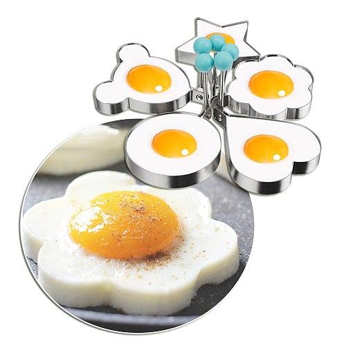 5 pcs/set Egg tools Pancake Mold, Love Flower Star Shape for Eggs Mold for Fried Pancakes Omelette Frying Pan Baking Dish