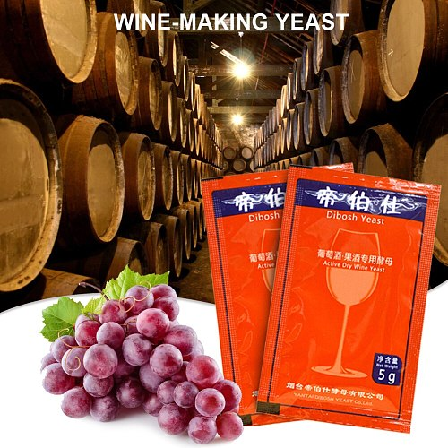 Wine Yeast Home Brewing Saccharomyces Cerevisiae Wine Yeast 5g For 25 KG Grape Alcohol Active Dry Yeast Liquor Maker