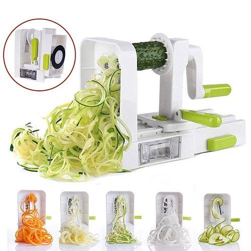Folding Veggie Pasta Slicer Blade Vegetable Spiralizer with Rotating Spaghetti Potato Spiral Cutter Noodles Kitchen Gadgets Tool