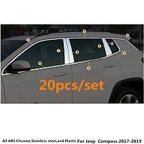 Car Styling Stick Stainless Steel Glass Window Garnish Pillar Middle Column Trim Hood For Jeep Compass 2017 2018 2019 2020