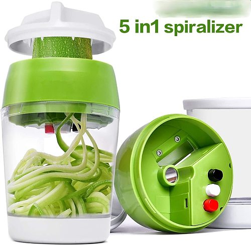 Hand held spiral vegetable cutter, cutting cup 5 in 1 adjustable planer kitchen gadgets and accessories kitchen gadgets