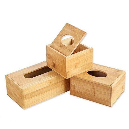 Bamboo Tissue Box Holder Storage Paper Box Tissue Box Cover Car Wood Napkins Holder Case Organizer Home Decoration