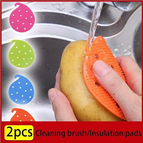 2pcs Kitchen Cleaning Brush Washing  Pot Pan Sponge Scrubber Fruit Vegetable Dish Silicone Dishwashing Brush Insulation Pads