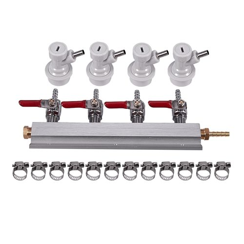 4-Way Beer Splitter, CO2 Beer Gas Manifold Distributor with Integrated Check Valves Splitter Beer Homebrew Beer Making Brewing T