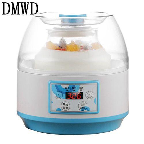 DMWD Electric Yogurt Maker Multifunction Natto Leben Fermenter Automatic Rice Wine Fruit Enzyme Machine 2L Yoghurt Glass Liner
