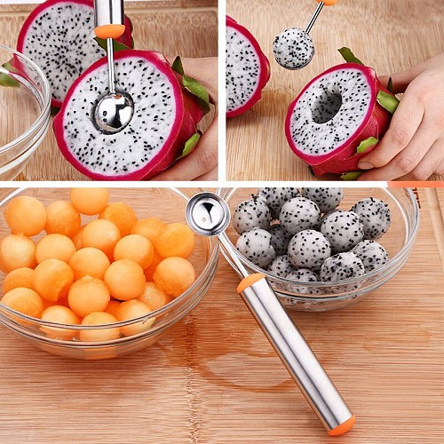 NEW Stainless Steel Watermelon Slicer Fruit Knife Cutter and Ice Cream Melon Scoop Spoon Kitchen Tools