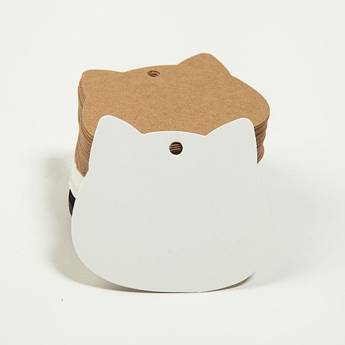 50pcs Cat Tags White Kraft Paper Tag Garment Shoes Bags Hang Tag Thank You Cards Luggage Labels for Wedding Party Supplies Decor