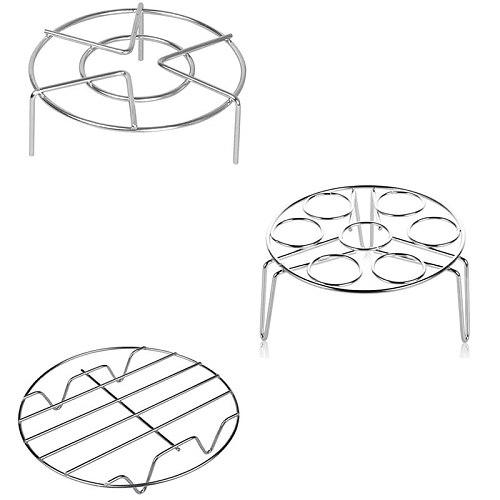Stainless Steel Steam Rack for Cooking Trivet Rack Holder Egg Steamer Basket for Pressure Cooker Air Fryer,Set of 3