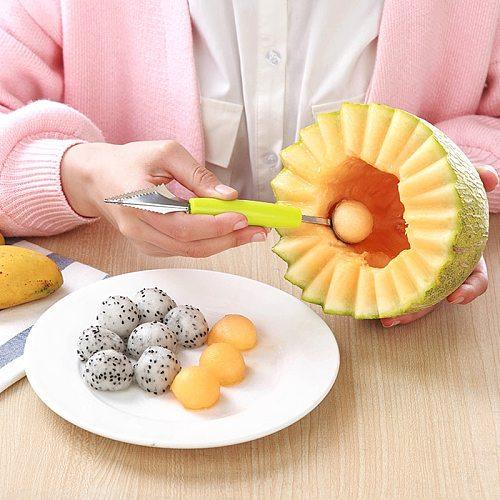 2in1 Kiwi Fruit Fruit Jar Mashed Potato Cream Spoon Avocado Dual-head Ball Fruit Knife Waterlemon Scoop Melon Digger Kitchen