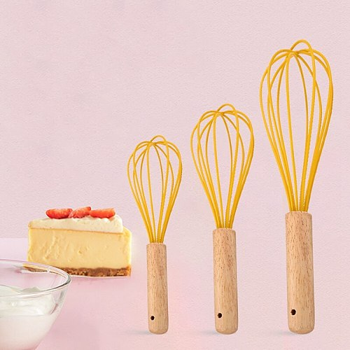 Silicone Egg Whisk Wooden Handle Egg Mixer Manual Egg Beater Kitchen Blender Milk Cream Butter Beater Baking Accessiores