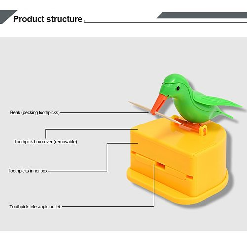 Small Bird Automatic Toothpick Stand Toothpick Container Toothpick Holder Storage Box Plastic Storage Container Decoration