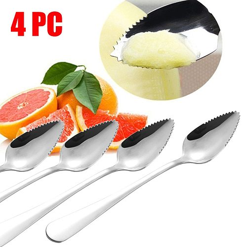 T# 4pcs Thick Stainless Steel Spoon Serrated Edge Grapefruit Spoon Sharp Specialty Spoon Multifunctional Kitchen Accessories