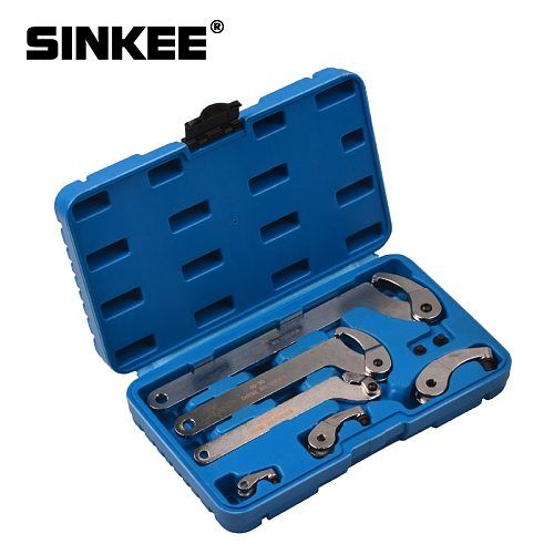 6pcs Adjustable Wrench Tool Kit 35-120mm Hook And Pin Jaw Wrench Spanner C Spanner Tool Set For Locking Nut SK1616
