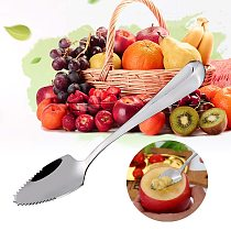 Stainless Steel Grapefruit Apple Scraper Spoon Serrated Sawtooth Edge Fruit Puree Long Handle Baby Food Prepare Tool 3