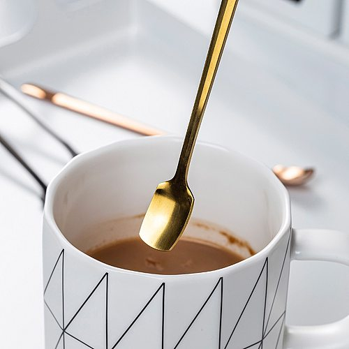 High Quality Gold Coffee Spoon Stainless Steel Dessert Fork Long Handle Flatware Drinking Tools Kitchen Gadget Coffee Spoon