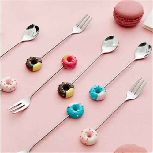 1pcs Stainless Steel Donut Fork Spoon Cute Girl Heart Fork Mini Creative Fork Set Tableware Dessert Spoon Coffee Stirring Spoon