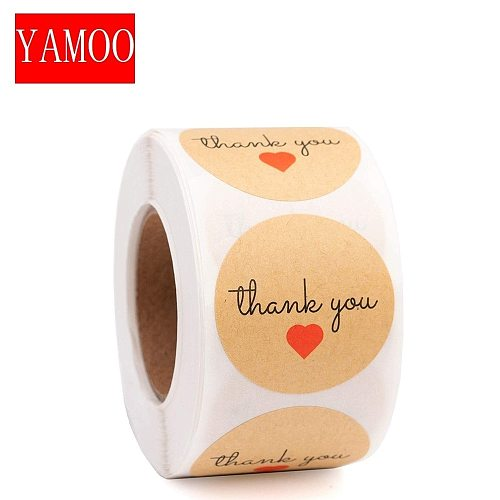 Heart Shape round thank you label stickers seals Label For Gifts student stationery supply Adhesive stickers scrapbooking