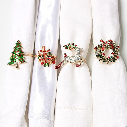 Metal Christmas Tree Napkin Buckle Bow Flower Wreath Mouth Ring Napkin Ring Wedding Hotel Table Supplies Circle Decoration Gifts