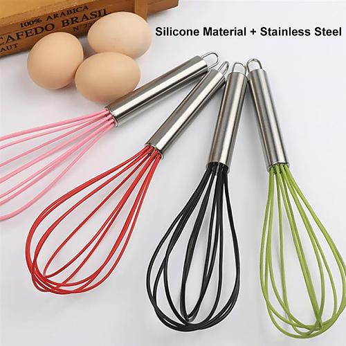 Silicone Whisk With Stainless Steel Handle Egg Beaters Butter Blender Kitchen Tools For Whisking Dough