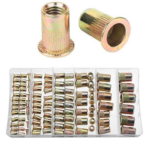 220/170/120PCS Carbon Steel Rivet Nuts Set M3 M4 M5 M6 M8 M10 With Box Multi Size Insert Rivet Nuts Set Flat Head Threaded Nuts