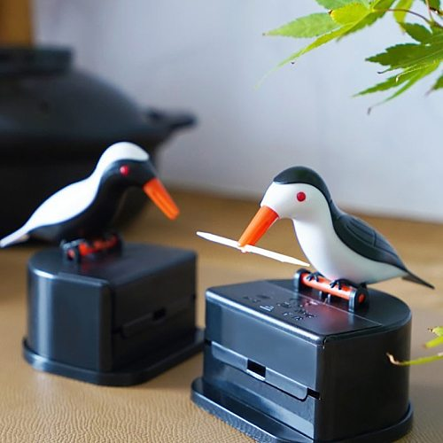 New Cute Small Bird Toothpick Container Automatic  Dispenser  Holder Home Decoration Table Decor Random Color