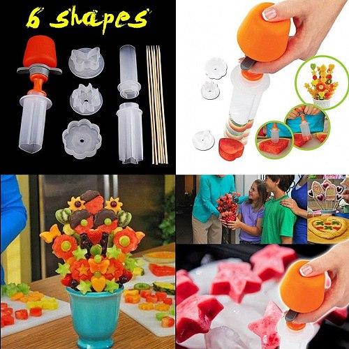 1set Fruit Cake Cutting Vegetable DIY Push Pop Shaper Cutter Food Decor Tools Food Decorator Kitchen Gadgets Accessories Tools