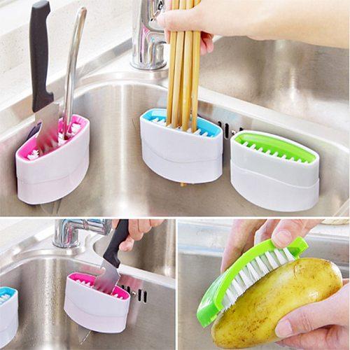 Multi-functional Sucker Cutlery Cleaner Knife Fork Spoon Cleaning Brush For Vegetable Fruit Kitchen Helper 8