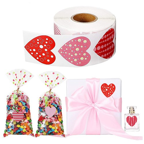 500pcs/roll Love Heart Shaped Label Sticker Scrapbooking Gift Packaging Seal Birthday Party Wedding Supply Stationery Sticker