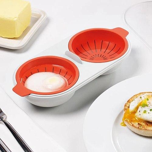 Draining Egg Boiler Set Double Layer Microwave Egg Poacher Breakfast Egg Cooker