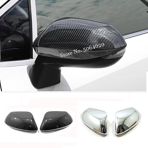 ABS Chrome/Carbon fiber For Toyota Sienta 2015-2019 accessories Car Side Door Rear View Mirror Cover Trim Cap Garnish Molding