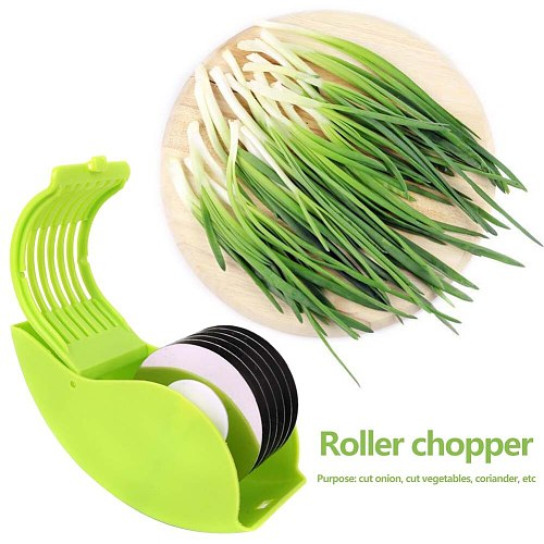 6 Stainless Steel Durable Blade Herb Rolling Mincer Multi-functional Practical Classic Manual Scallion Vegetable Chopper