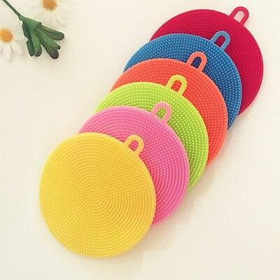 Round Handheld Kitchen Cleaning Brush Dishwashing Brush Fruit Vegetable Dish Washing Cleaning Brushes Pot Pan Sponge Scrubber
