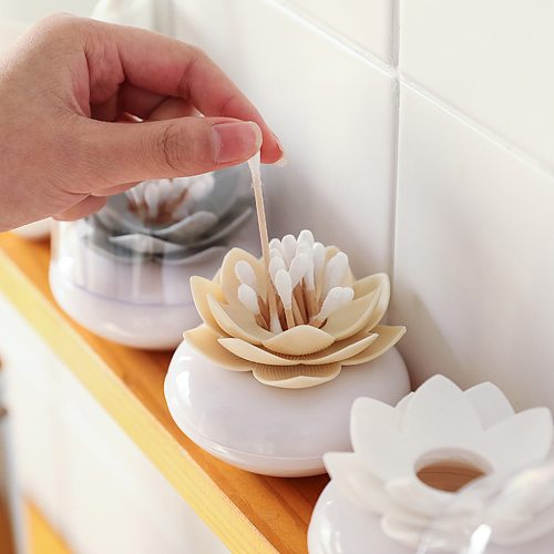 1Pcs Flower Design Cotton Swab Holder Storage Container Toothpicks Organizer Tube with Dust Cover Plastic Toothpicks Storage Box