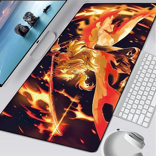 XL Anime Kimetsu no Yaiba Pad Mouse HD Print Computer Gamer Locking Edge Mousepad XXL Keyboard PC Mice Mats Pad for csgo