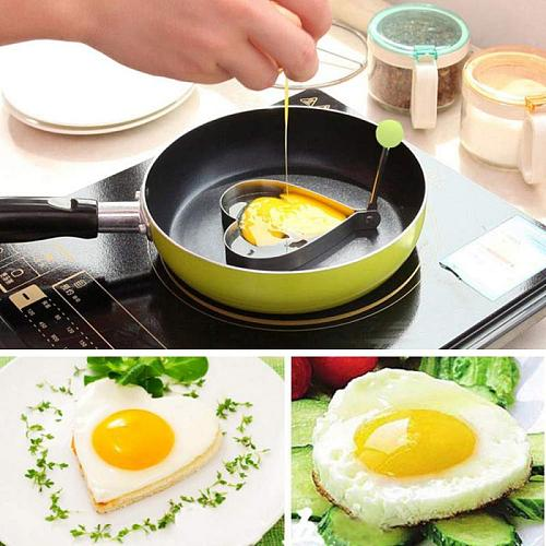 Fried Egg Shaper Stainless Steel Fried Egg Shaper Pancake Ring Circle Mold Heart Shape Kitchen Tools Accessories Free Shipping