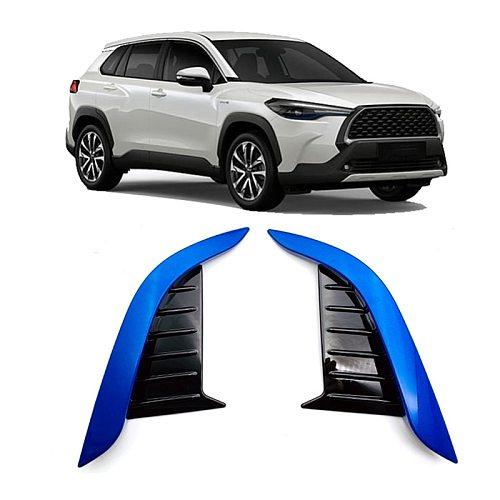 for Toyota Corolla Cross 2020 2021 ABS Chrome Blue Front Fog Light Lamp Bezel Cover Trim Exterior Garnish